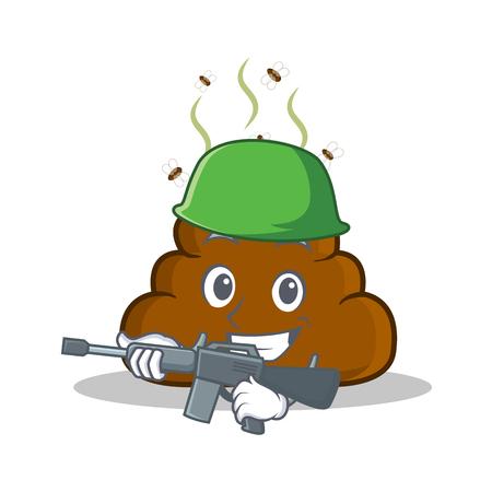 Army Poop emoticon character cartoon Illustration
