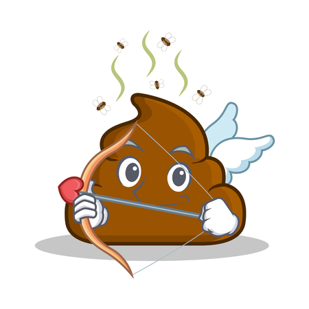 Cupid Poop emoticon character cartoon Illustration