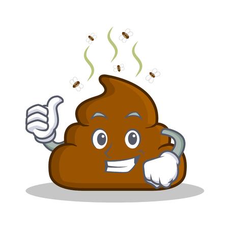Thumb up Poop emoticon character cartoon Illustration