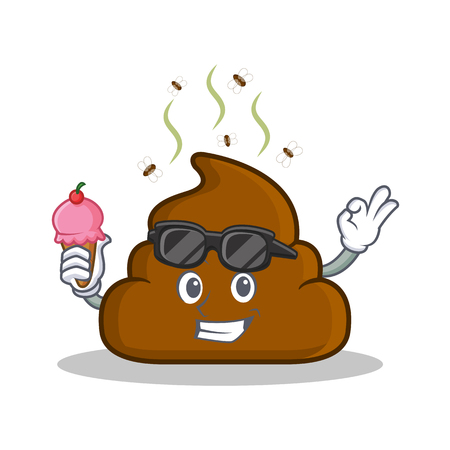 With ice cream Poop emoticon character cartoon