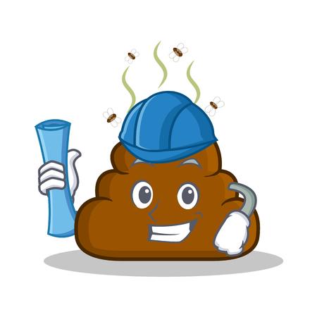 turd: Architect Poop emoticon character cartoon Illustration