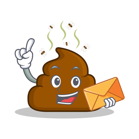turd: With envelope Poop emoticon character cartoon