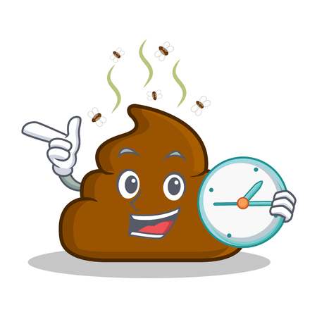 turd: With clock Poop emoticon character cartoon Illustration