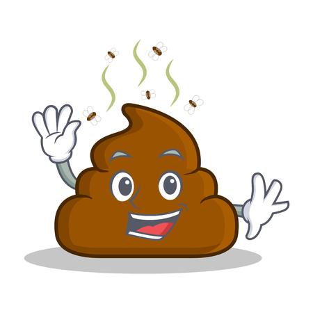 turd: Waving Poop emoticon character cartoon Illustration