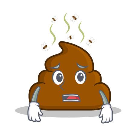 Afraid Poop emoticon character cartoon vector illustration