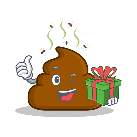 With gift Poop emoticon character cartoon