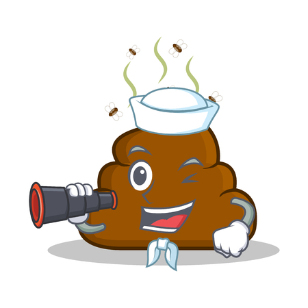 turd: Sailor with bonicular Poop emoticon character cartoon