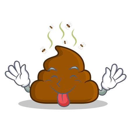 Tongue out Poop emoticon character cartoon