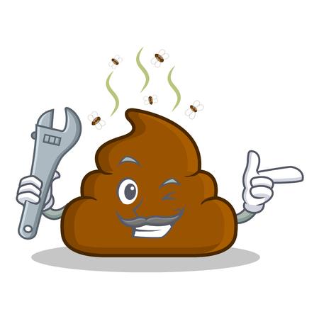 Mechanic Poop emoticon character cartoon