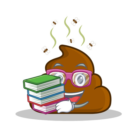 Student with book Poop emoticon character cartoon Illustration