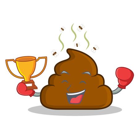 turd: Boxing winner Poop emoticon character cartoon
