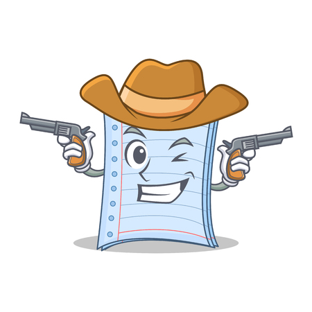Cowboy notebook character cartoon style Illustration