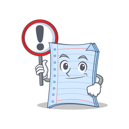 Notebook with sign character cartoon style vector illustration