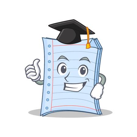 Graduation notebook character cartoon style Illustration