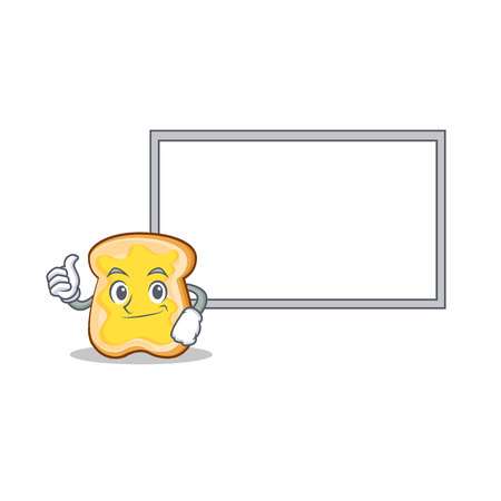 sandwich board: Thumb up with board slice bread cartoon character vector art illustration