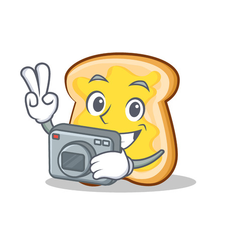 Photography slice bread cartoon character vector art illustration Illustration