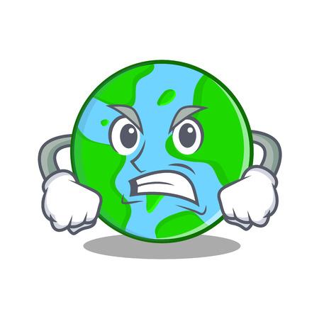 Angry world globe character cartoon Иллюстрация