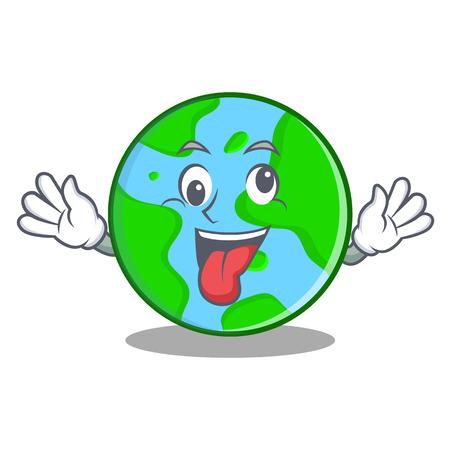 Crazy world globe character cartoon Illustration