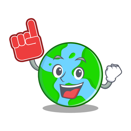 Foam finger world globe character with a facial expression, isolated cartoon illustration