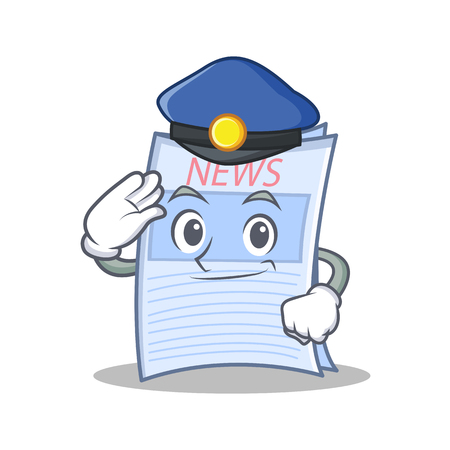 Police newspaper character cartoon style