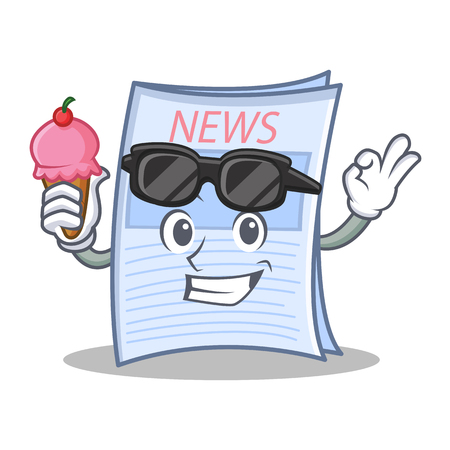 With ice cream newspaper cartoon character style