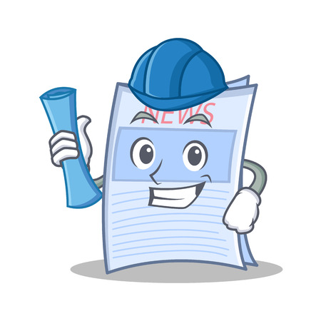 Architect newspaper character cartoon style