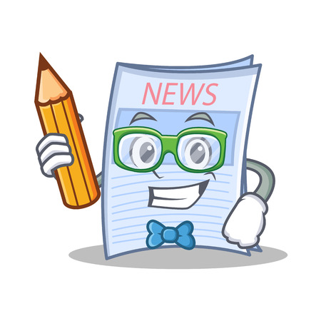 Student with pencil newspaper character cartoon style
