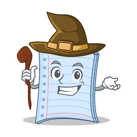Witch notebook character cartoon design vector illustration Illustration