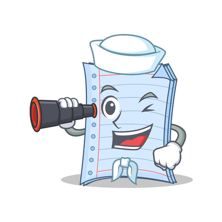 Sailor with binocular notebook character cartoon design Illustration