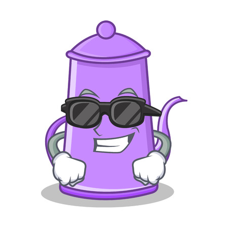 Super cool purple teapot character cartoon vector illustration