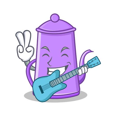 With Guitar Purple Teapot Character Cartoon