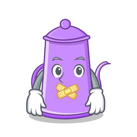 Silent purple teapot character cartoon vector illustration.