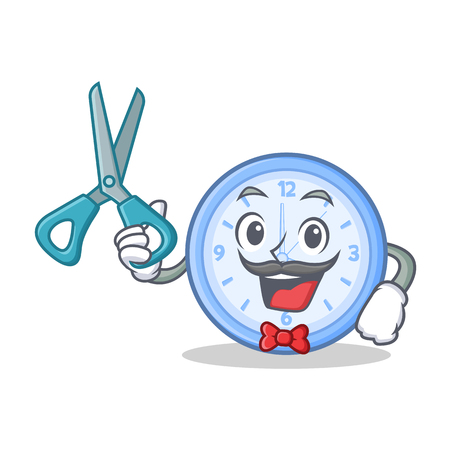 eager: Barber clock character cartoon style vector illustration