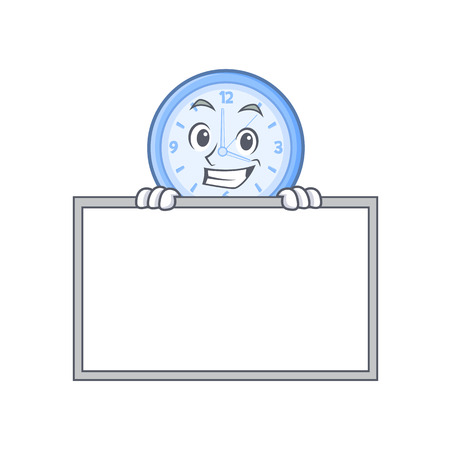 Grinning with board clock character cartoon style vector illustration