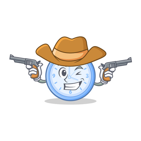 eager: Cowboy clock character cartoon style Illustration