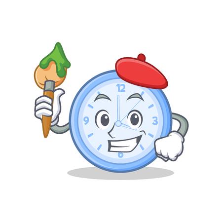 Artist clock character cartoon style Illustration