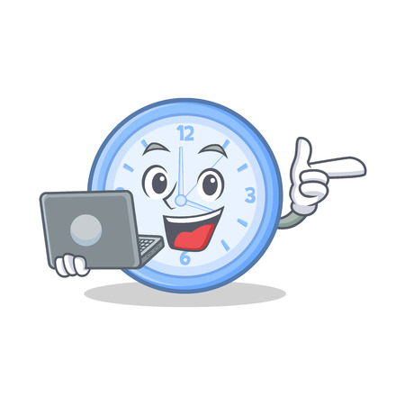 With laptop clock character cartoon style