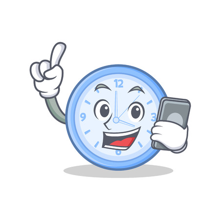 With phone clock cartoon character style vector illustration