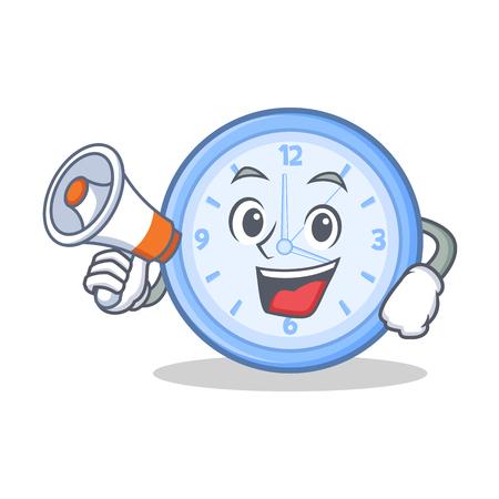 Met megafoon klok cartoon karakter stijl vectorillustratie Stock Illustratie