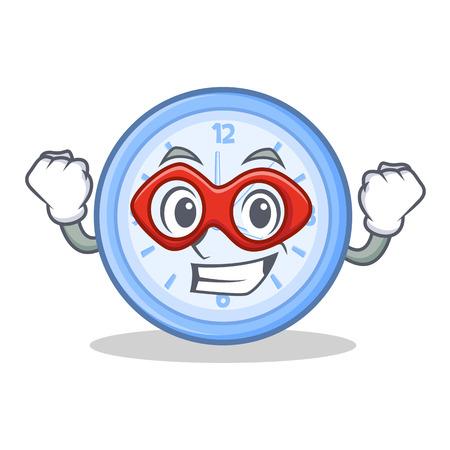 Super hero clock cartoon character style vector illustration