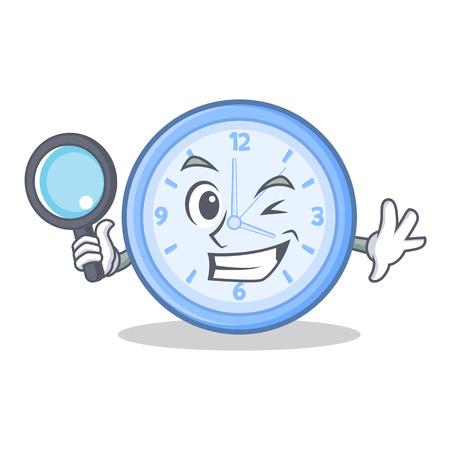 Detective clock cartoon character style vector illustration