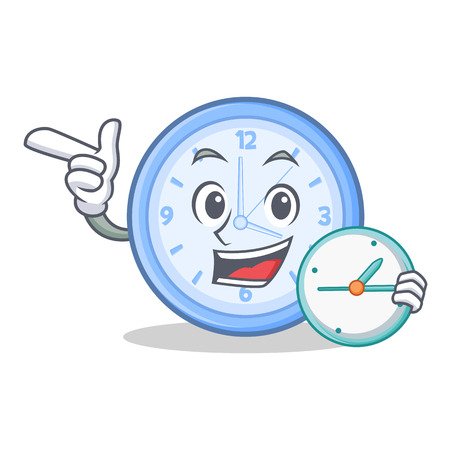 eager: Waiting clock character cartoon style vector illustration.