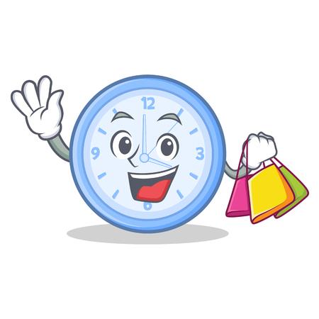 Shopping clock character cartoon style vector illustration. Illustration