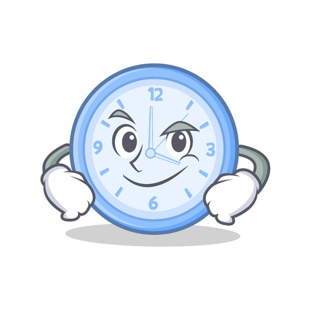 Smirking clock character cartoon style vector illustration
