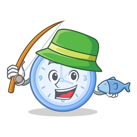 Fishing clock character cartoon style vector illustration