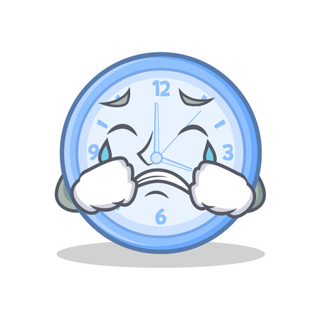 Crying clock character cartoon style vector illustration Illustration