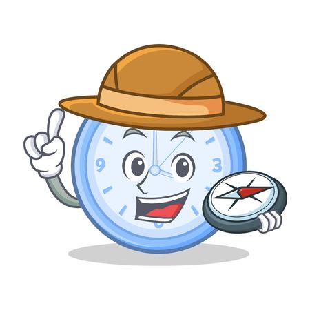 hand bell: Explorer clock character cartoon style Illustration