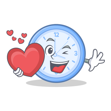 Clock with heart character cartoon style