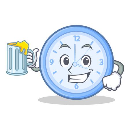 With juice clock character cartoon style vector illustration Illustration