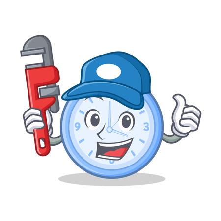 Plumber clock character cartoon style vector illustration